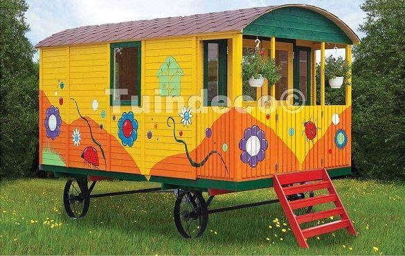 caseta de madera para niños gypsy caravan HOBYCASA