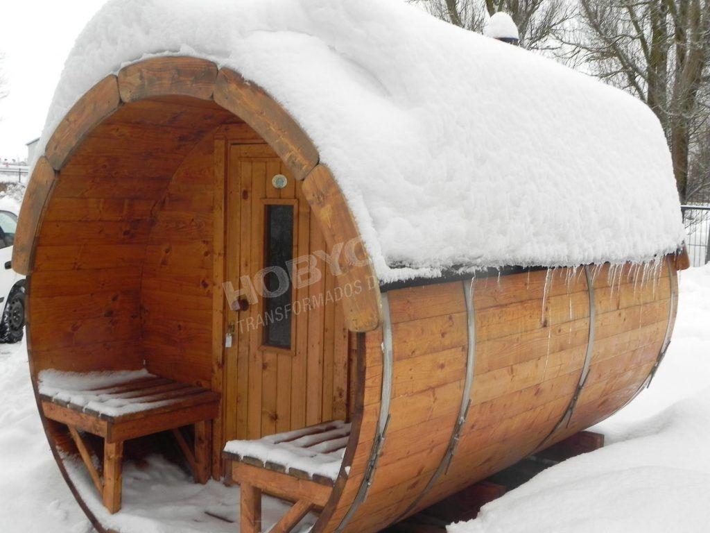 consejos para comprar una cabaña de madera Sauna con nieve